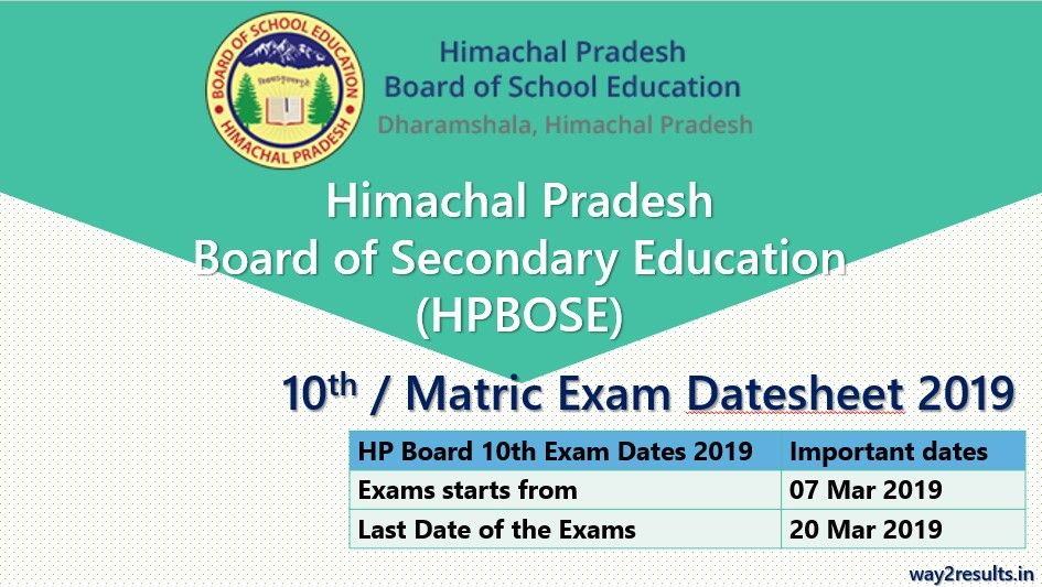 HP Board 10th Class Date Sheet 2019 Available at hpbose org