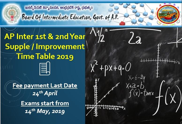 AP Inter 1st & 2nd Year Supplementary / Improvement Dates 2019