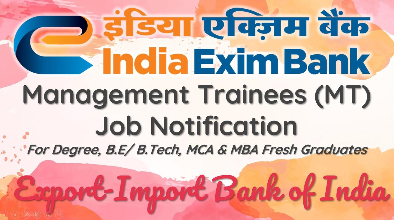 India Exim Bank Management Trainee (MT) Recruitment 2020
